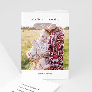Einladungskarten Taufe mit Fotos - Brush Rosa - 0