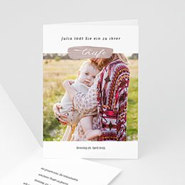 Einladungskarten Taufe mit Fotos Brush Rosa