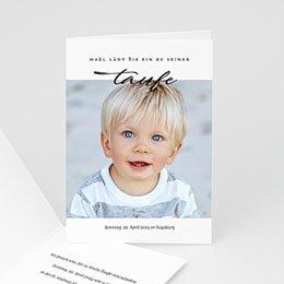 Einladungskarten Taufe Jungen  Brush Blau