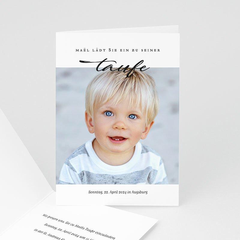 Einladungskarten Taufe für Jungen Brush Blau