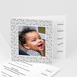 Einladungskarten Taufe originell Liberty Grau