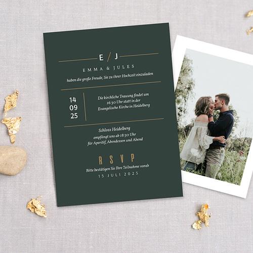 Hochzeitseinladungen Grün & Kraft