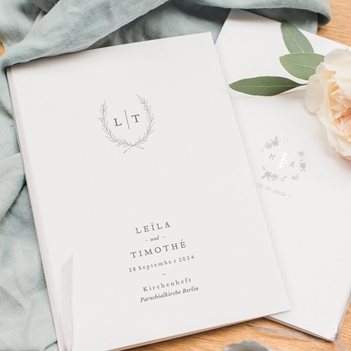 Kirchenheft Hochzeit Kinfolk Blume pas cher