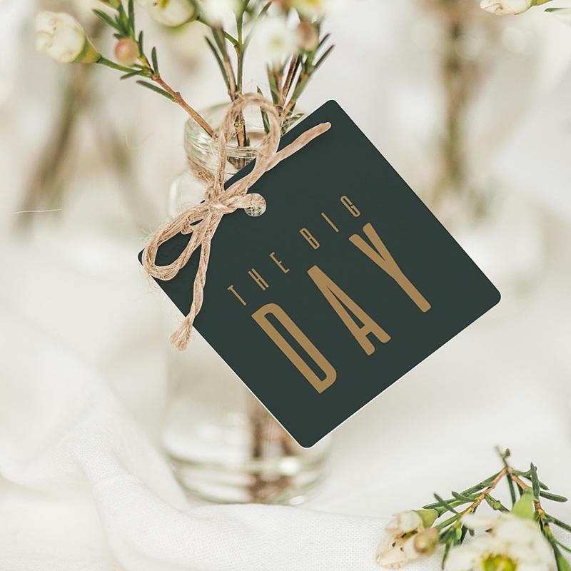 Geschenkanhänger Hochzeit Grün & Kraft