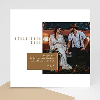Dankeskarten Hochzeit mit Foto - Leinen & Senftöne - 0