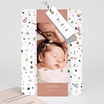 Geburtskarten für Mädchen - Terrazzo Rosa - 0
