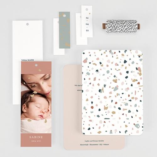 Geburtskarten für Mädchen Terrazzo Rosa gratuit