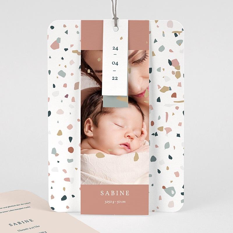 Geburtskarten für Mädchen Terrazzo Rosa