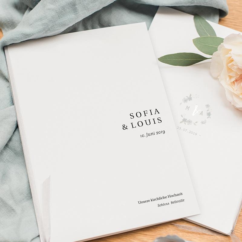 Kirchenheft Hochzeit Typografisch und Form pas cher