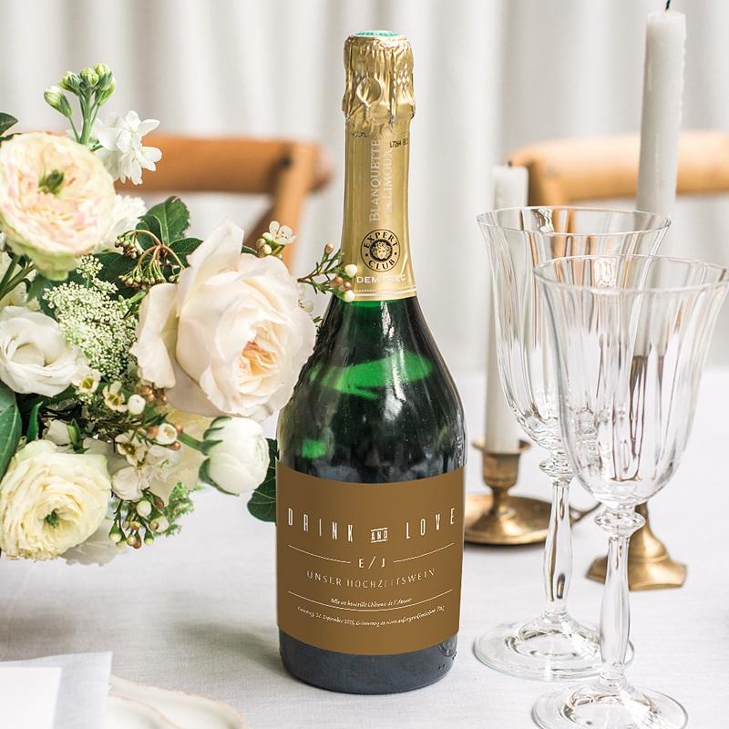 Sekt Flaschenetiketten Hochzeit Leinen & Senftöne gratuit