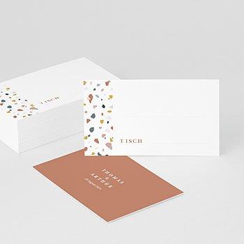 Tischkarten Hochzeit Terrazzo Gold