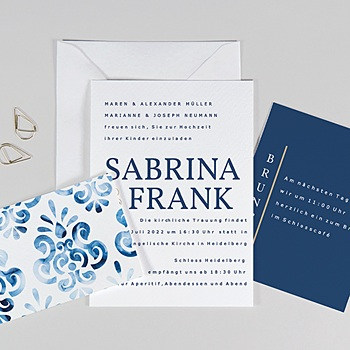 Hochzeitseinladungen Blau Portugiesisch blau