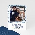 Dankeskarten Hochzeit mit Foto Portugiesisch blau