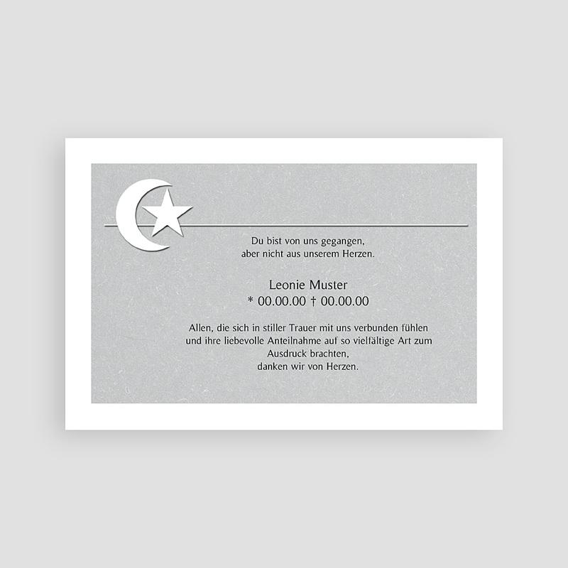 Muslimisch Dankeskarten Trauer Mondsichel in grau pas cher