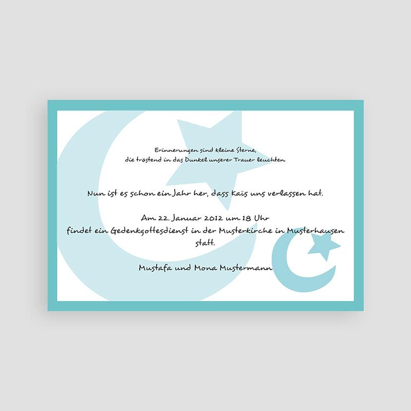 Muslimisch Dankeskarten Trauer Blaue Mondsichel 1 pas cher
