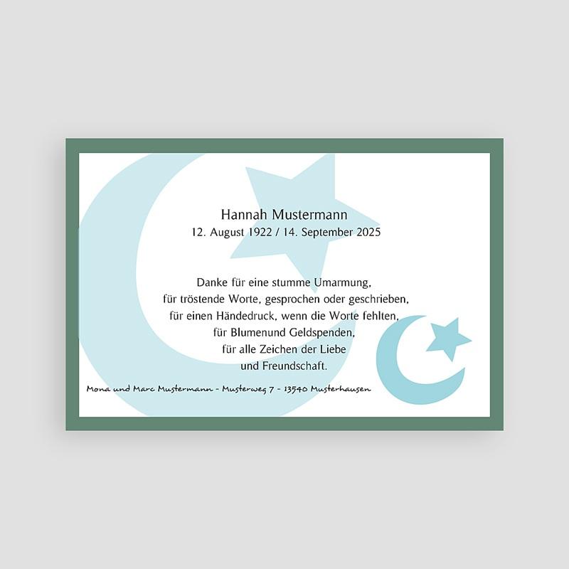 Trauer Danksagung muslimisch Mond und Sichel - Blau pas cher