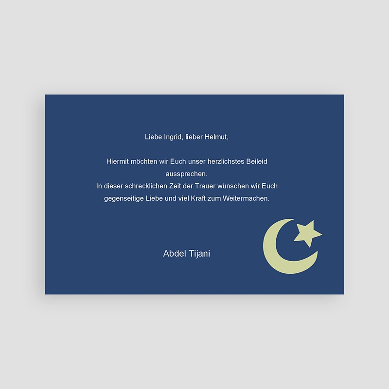 Muslimisch Dankeskarten Trauer Mond - Nachtblau pas cher