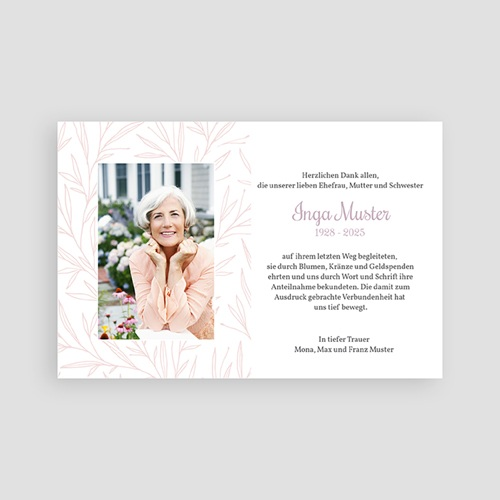 Weltlich Dankeskarten Trauer Rosenmotiv pas cher