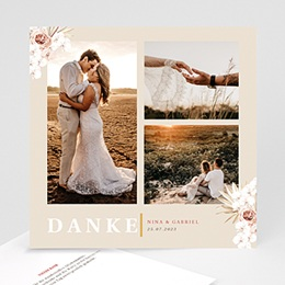 Dankeskarten Hochzeit Boho Böhmisch quadratisch 3 Fotos