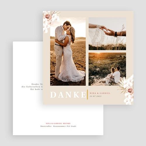 Boho Dankeskarten Hochzeit Böhmisch quadratisch 3 Fotos gratuit