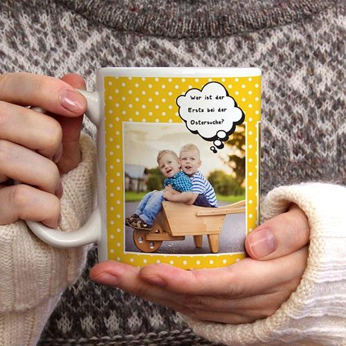 Personalisierte Fototassen Sonnige Ostern gratuit