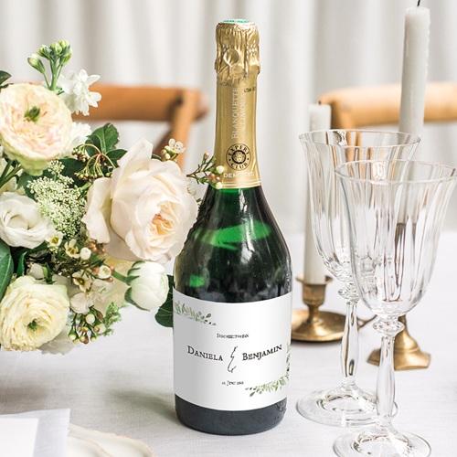Sekt Flaschenetiketten Hochzeit Blatt Dekoration gratuit