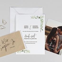 Rustikale Hochzeitseinladungen - Blatt Dekoration - 0