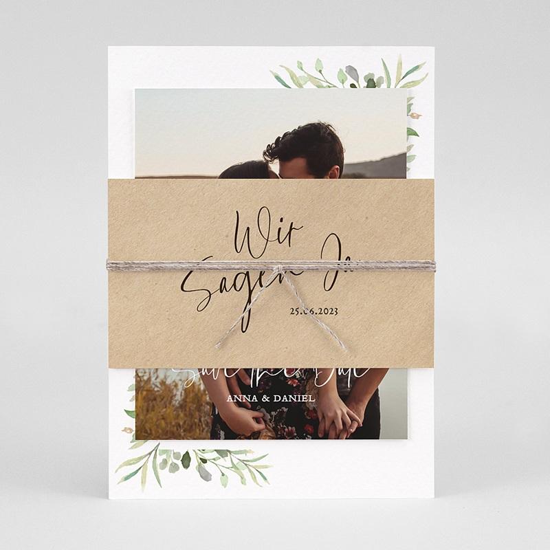 Rustikale Hochzeitseinladungen Blatt Dekoration pas cher