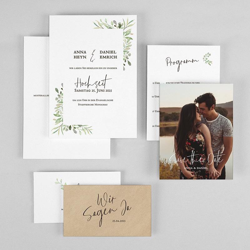 Rustikale Hochzeitseinladungen Blatt Dekoration gratuit
