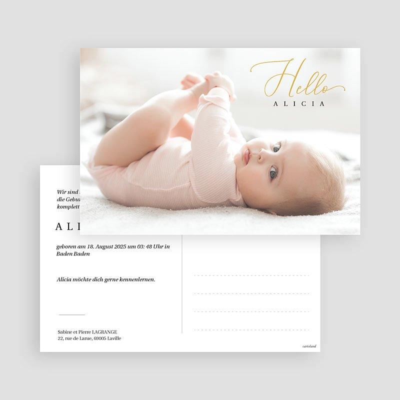 Geburtskarten für Mädchen Ansichtkarte Hello gratuit