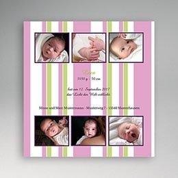 Karten Geburt Kleine Fotoserie in rosa-grün