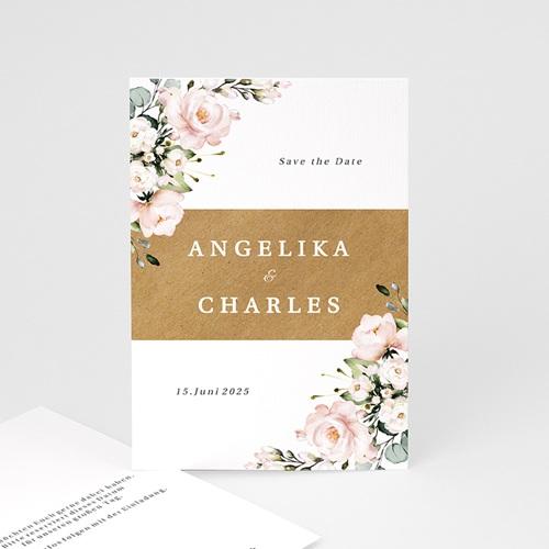 Save The Date Karten Hochzeit Blumentrauß Romantisch Kraft