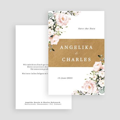 Save The Date Karten Hochzeit Blumentrauß Romantisch Kraft gratuit