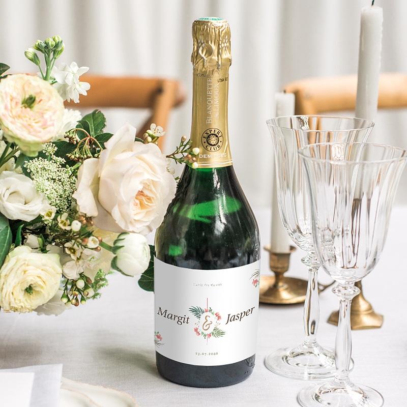 Sekt Flaschenetiketten Hochzeit Tropische Krone gratuit