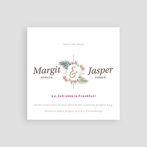 Save The Date Karten Hochzeit Tropische Krone, 10 x 10 pas cher