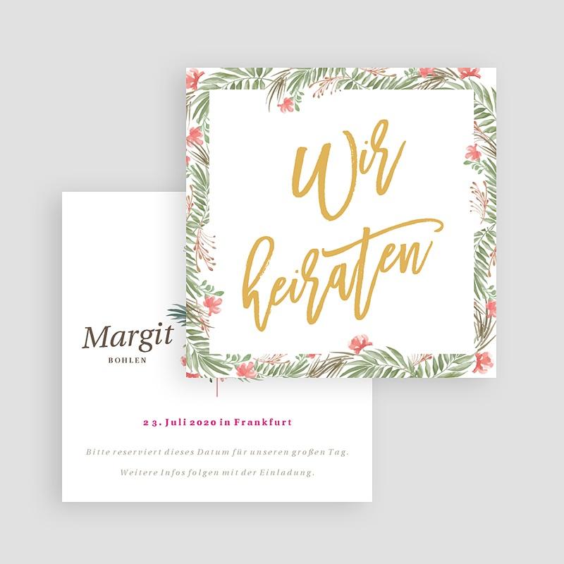 Save The Date Karten Hochzeit Tropische Krone, 10 x 10 gratuit