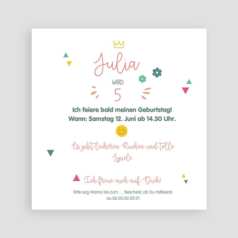 Kind Einladungskarten Geburtstag Prinzessin Girly Quadratisch pas cher