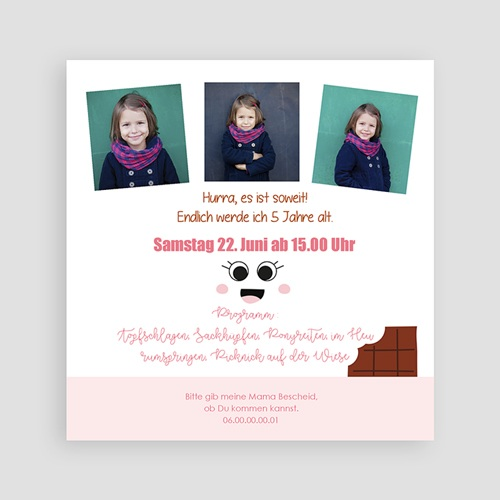 Kind Einladungskarten Geburtstag 5 Jahre Schoki pas cher