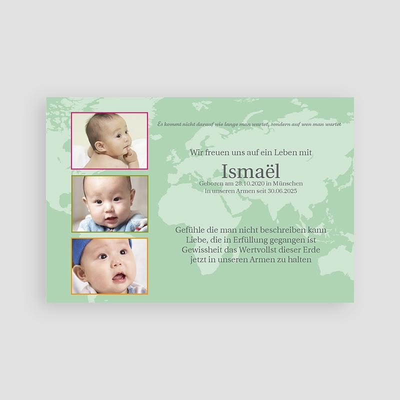 Adoptionskarten für Mädchen Grun gelb rosa pas cher