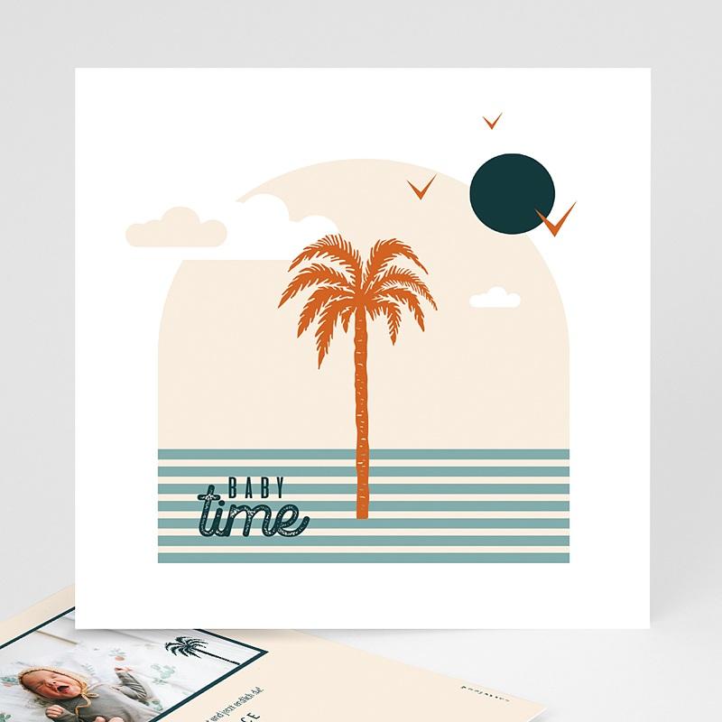 Adoptionskarten für Mädchen Palmenbaum Côte d'Azur Quadratisch