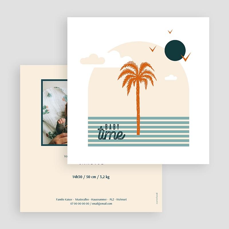 Adoptionskarten für Mädchen Palmenbaum Côte d'Azur Quadratisch gratuit