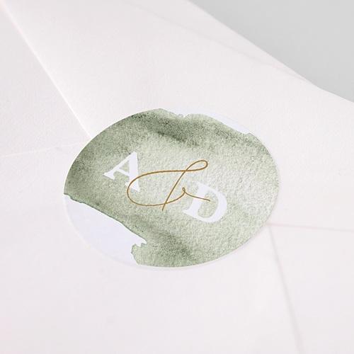 Aufkleber Hochzeit Aquarell grün pas cher