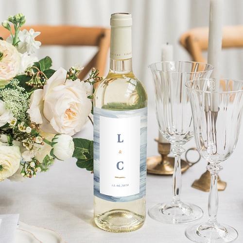 Wein Flaschenetiketten Hochzeit am Meer