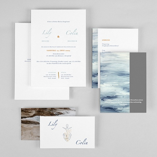 Maritime Hochzeitseinladungen am Meer gratuit