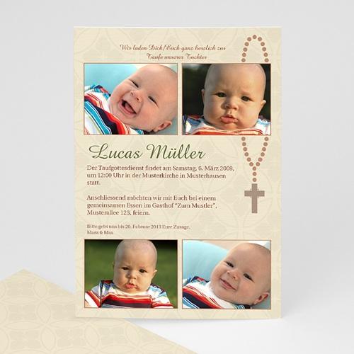 Einladungskarten Taufe Jungen  - Taufkarte Baby Kreuz 8246
