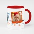 Personalisierte Fototassen Weihnachten 3 Fotos, Rote Henkel, Keramik