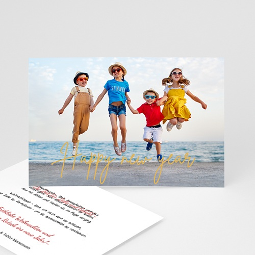 Weihnachtskarten Goldprägung, Foto, Happy New Year