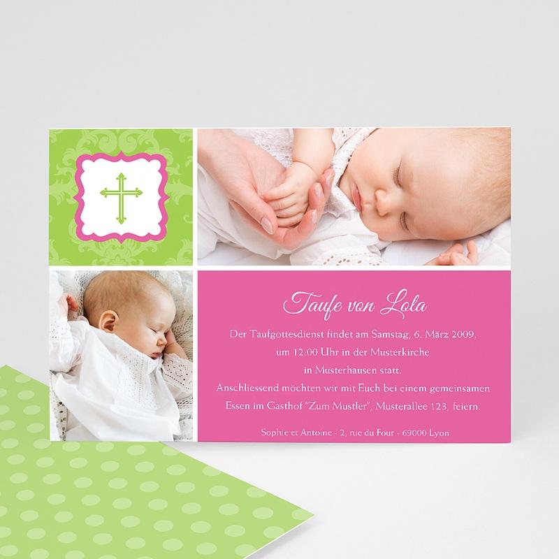 Einladungskarten Taufe für Mädchen Grün Pink