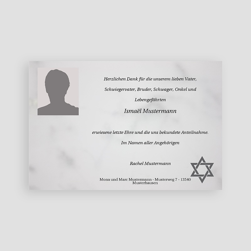 Israelitisch Dankeskarten Trauer Wehmut pas cher