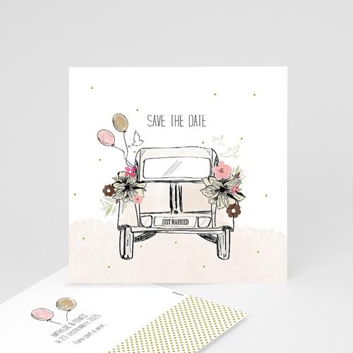 Save The Date Karten Hochzeit Vintage Just Married, 10 cm x 10 cm